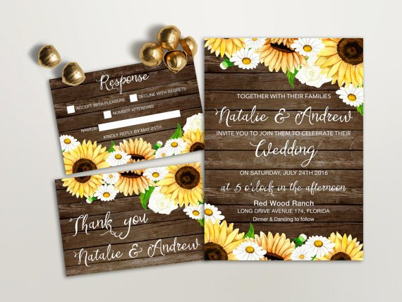 16 sunflower wedding invitations perfect fall weddings