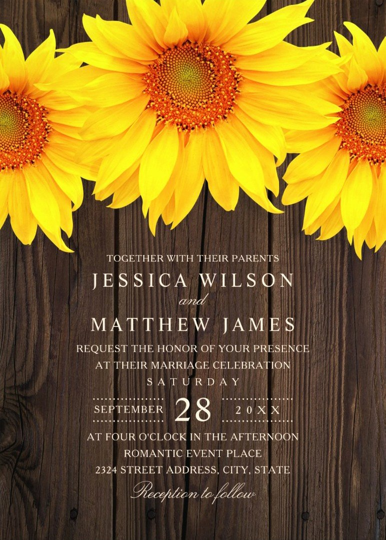 Rustic Sunflower Wedding Invitations Awesome Best Vintage Rustic Sunflower Wedding Invitations Creative Country Invite
