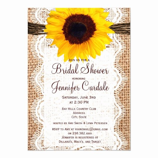 Rustic Sunflower Wedding Invitations Beautiful Rustic Burlap Sunflower Bridal Shower Invitations