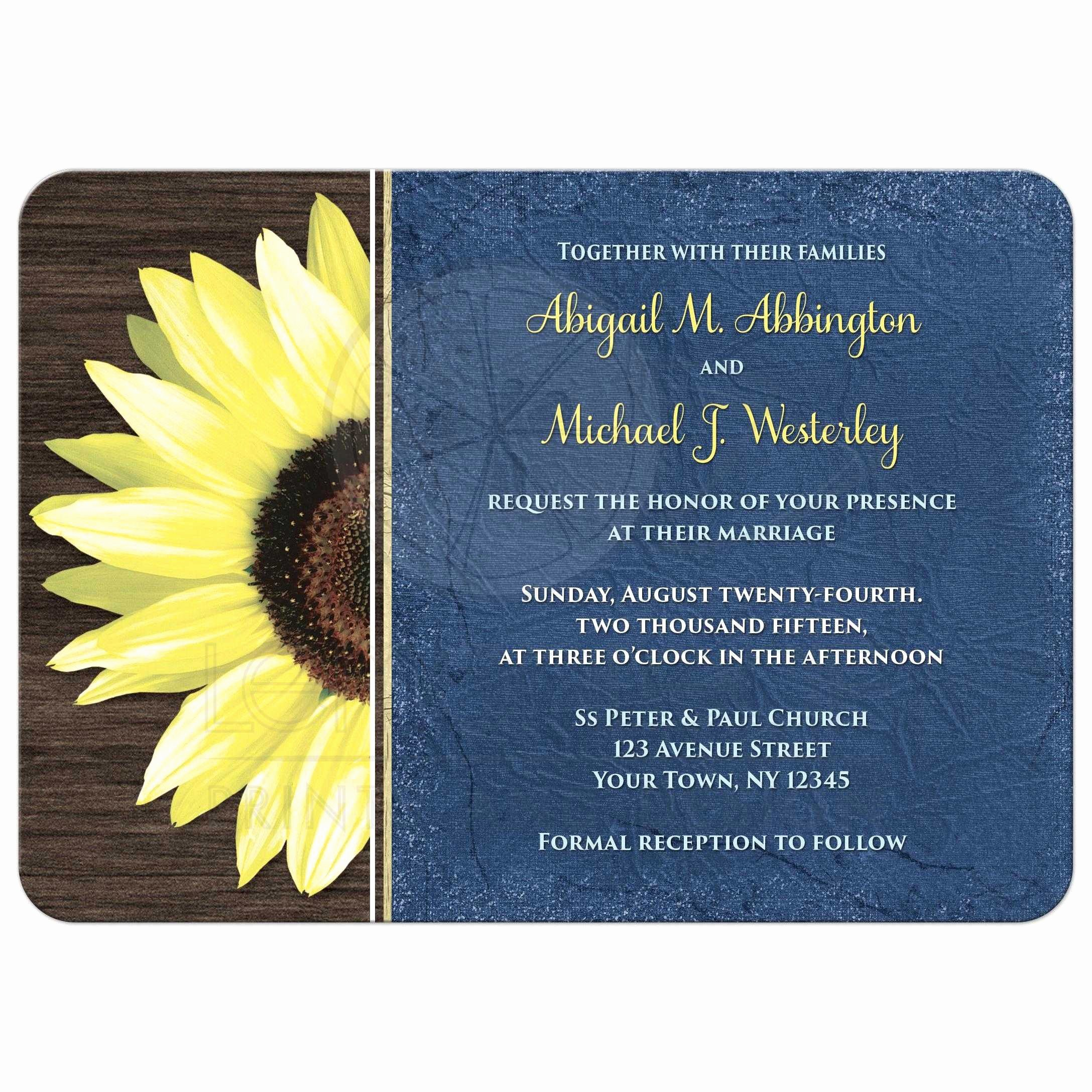 Rustic Sunflower Wedding Invitations Beautiful Wedding Invitations Rustic Sunflower and Blue