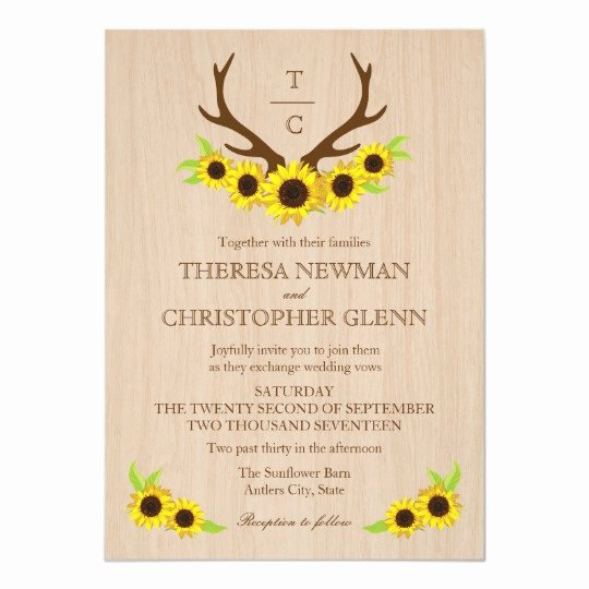 Rustic Sunflower Wedding Invitations Best Of Rustic Antlers and Sunflowers Wedding Invitation