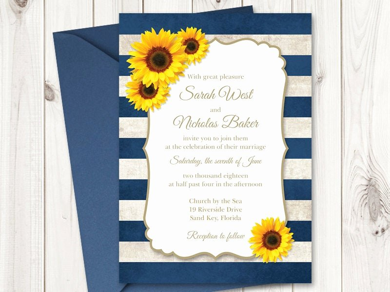 Rustic Sunflower Wedding Invitations Best Of Sunflower Wedding Invitation Printable Template with Navy Blue