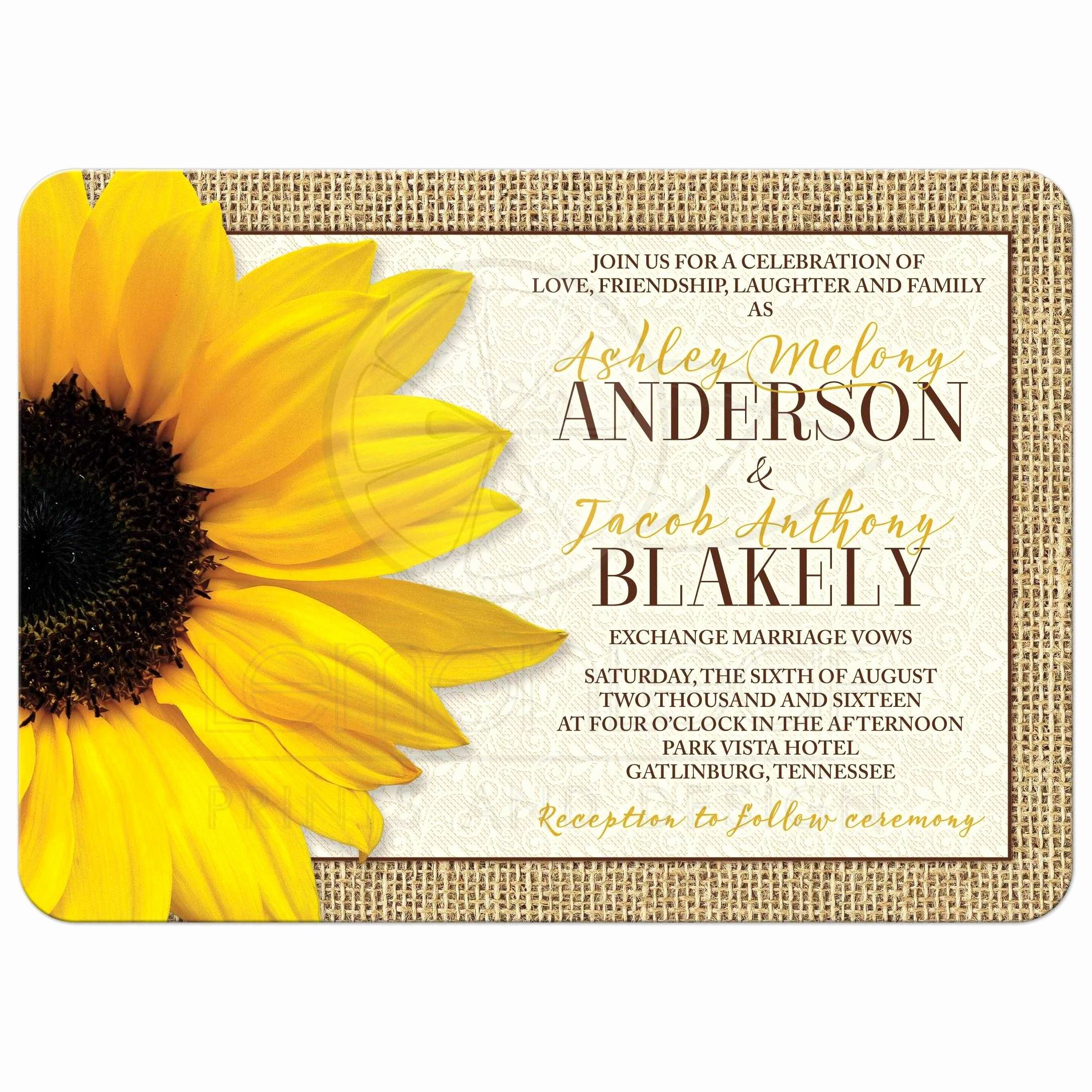 Rustic Sunflower Wedding Invitations Elegant Rustic Yellow Sunflower Lace Burlap Wedding Invitation
