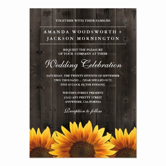 Rustic Sunflower Wedding Invitations Fresh Barn Wood Rustic Sunflower Wedding Invitations