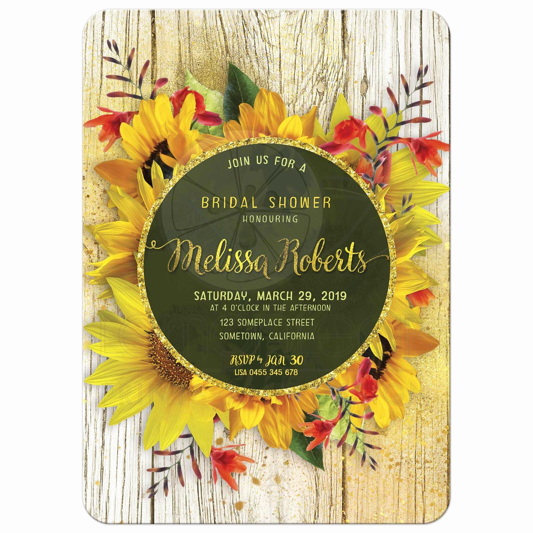 Rustic Sunflower Wedding Invitations Fresh Rustic Sunflower Bridal Shower Invitation