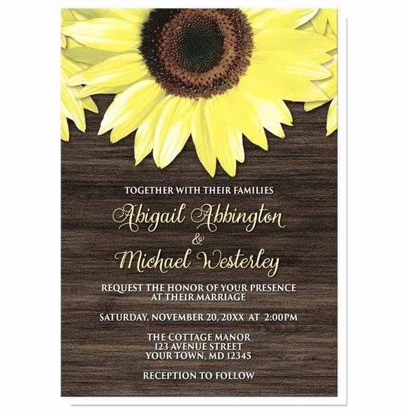 Rustic Sunflower Wedding Invitations Lovely Rustic Sunflower and Wood Wedding Invitations