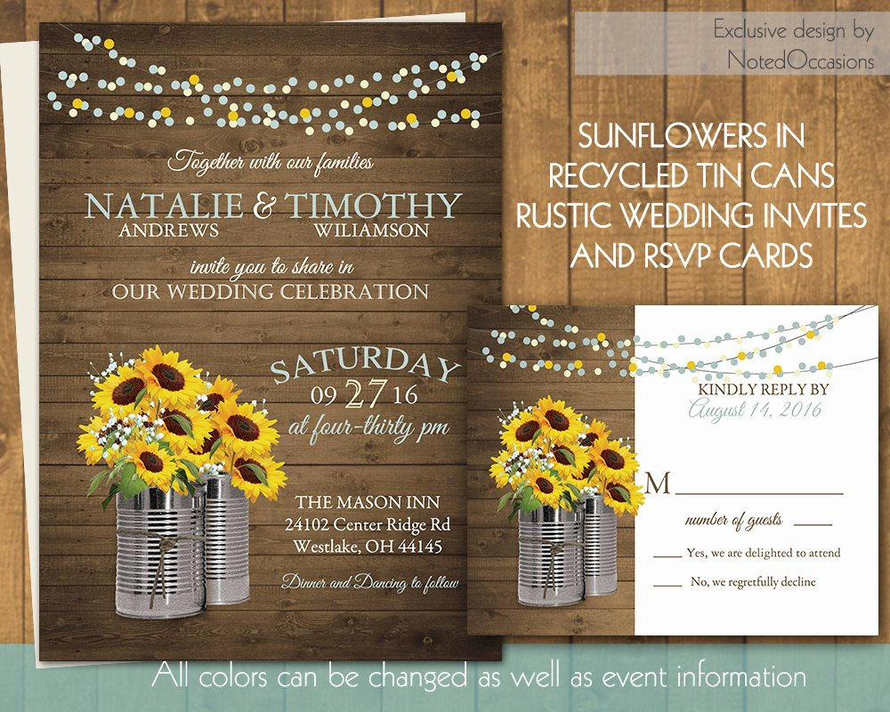 Rustic Sunflower Wedding Invitations Luxury Rustic Sunflower Wedding Invitations Recycled by Notedoccasions