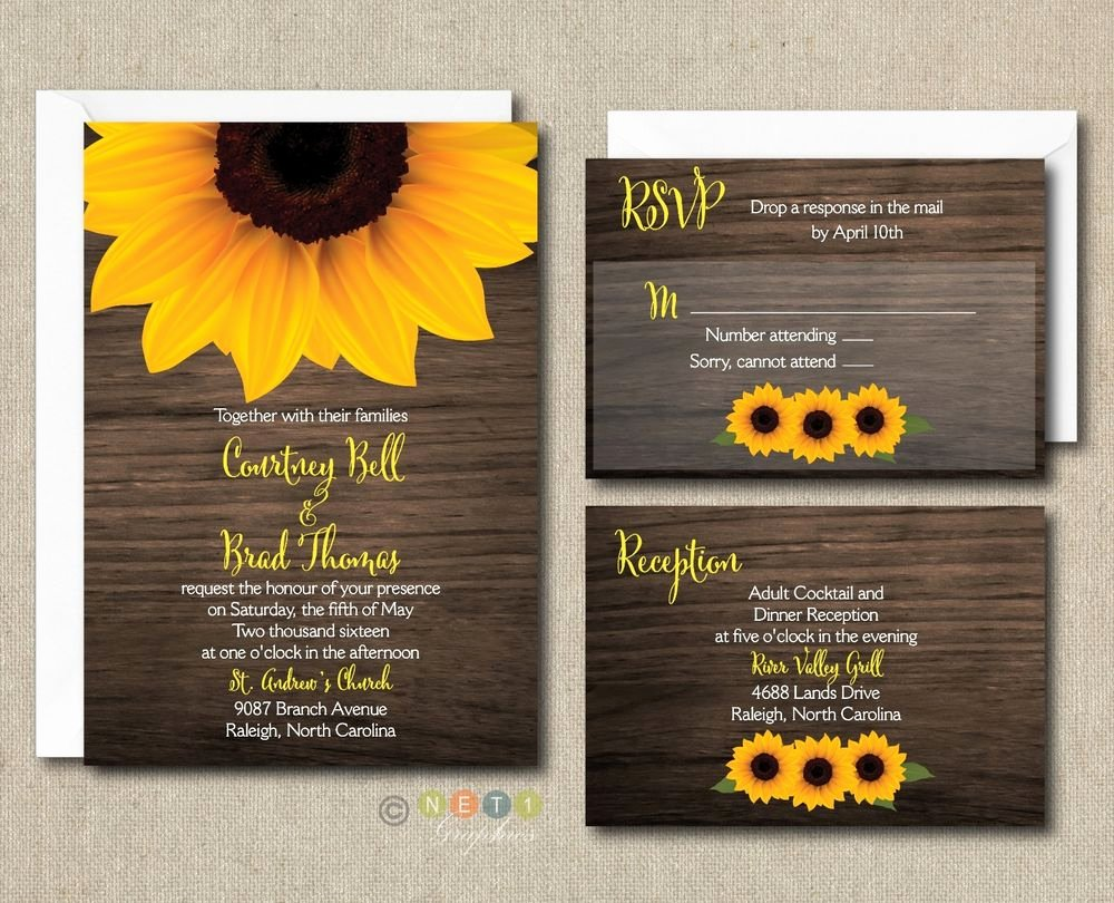 Rustic Sunflower Wedding Invitations New 100 Personalized Rustic Sunflower Wood Wedding Invitation Suite with Envelopes