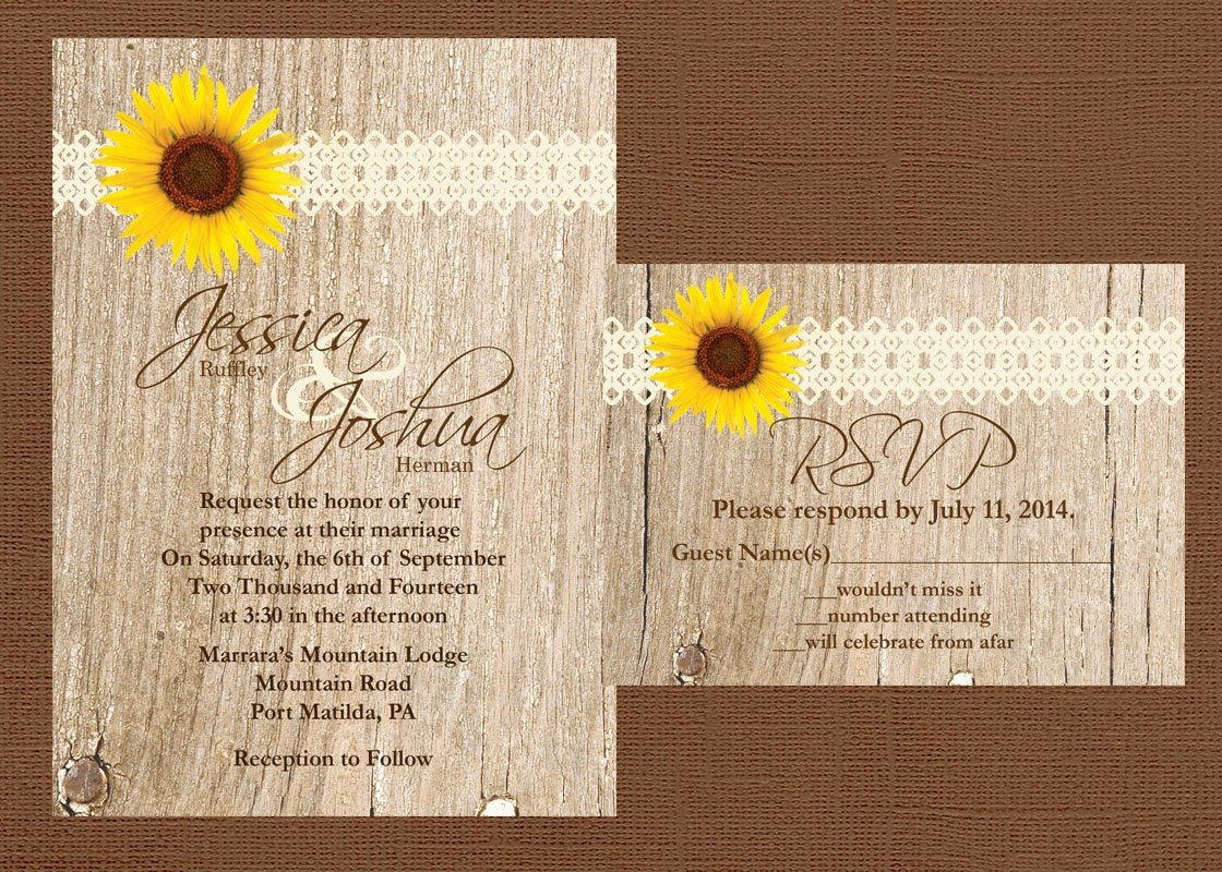 Rustic Sunflower Wedding Invitations Unique Rustic Wedding Invitation Sunflower Wedding Invitation Lace