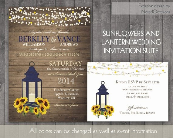 Rustic Sunflower Wedding Invitations Unique Sunflower Wedding Invitation Rustic Lantern by Notedoccasions