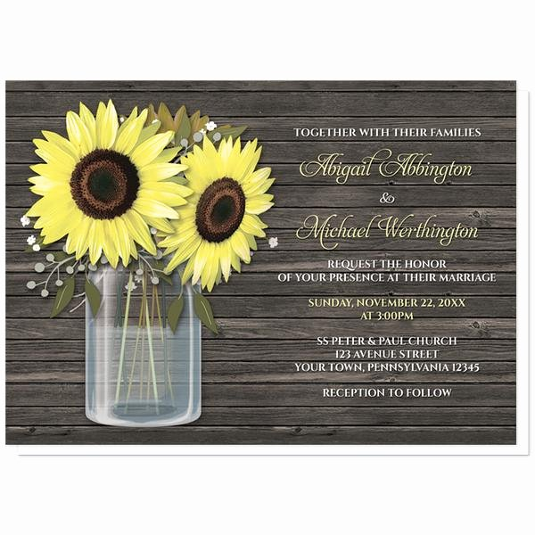 Rustic Sunflower Wedding Invitations Unique Sunflower Wedding Invitations Rustic Sunflower Wood Mason Jar