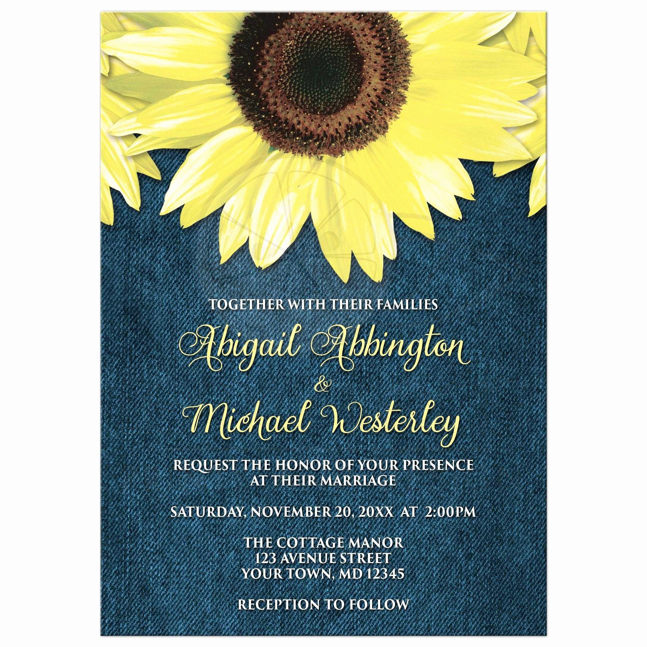 Rustic Sunflower Wedding Invitations Unique Wedding Invitations Rustic Sunflower and Denim