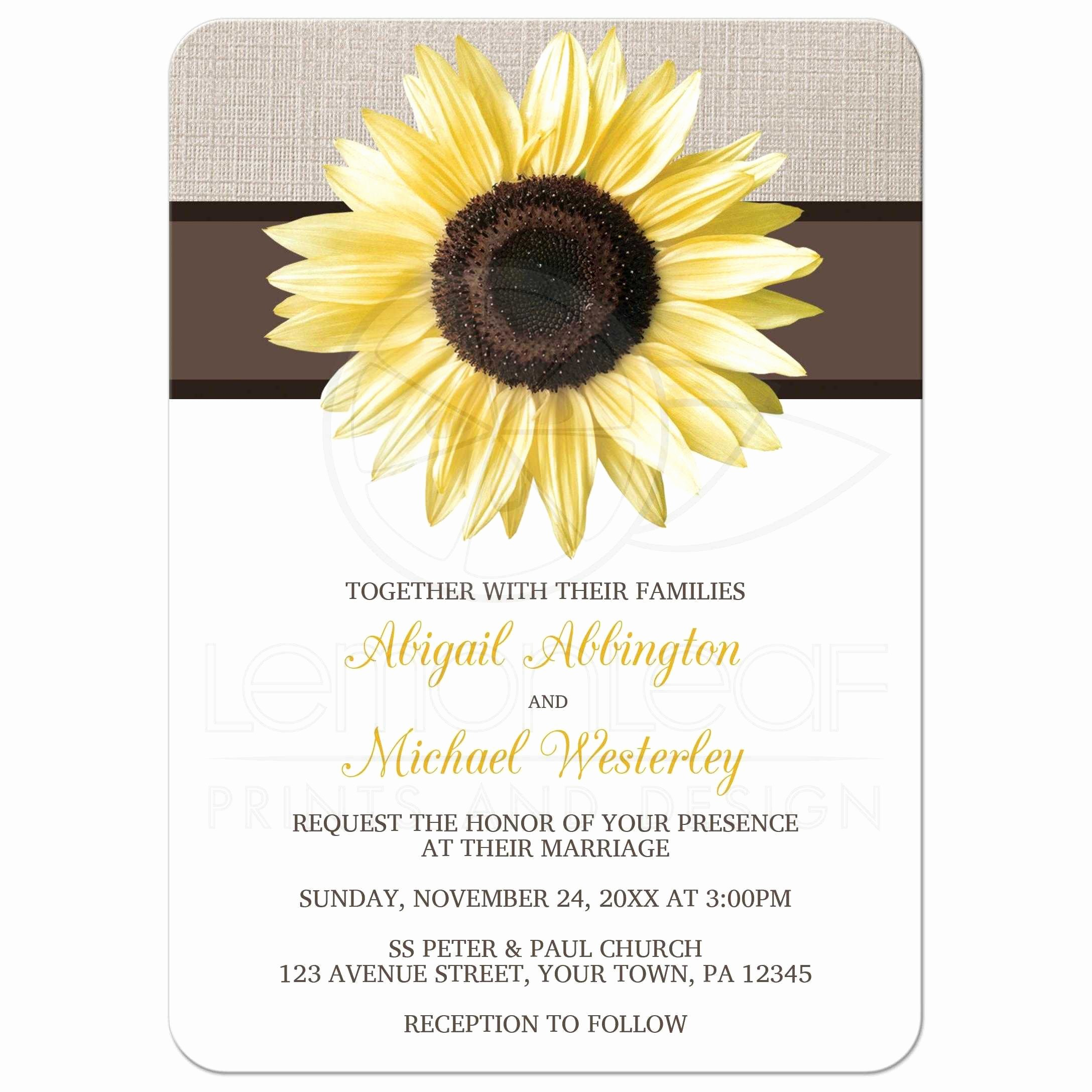 Rustic Sunflower Wedding Invitations Unique Wedding Invitations Rustic Sunflower Linen and White