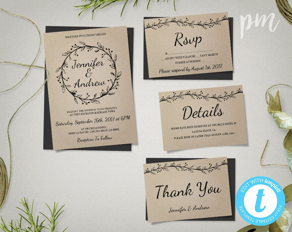 Rustic Wedding Invitation Templates Awesome Rustic Wedding Invitation Template Suite with Wreath Kraft