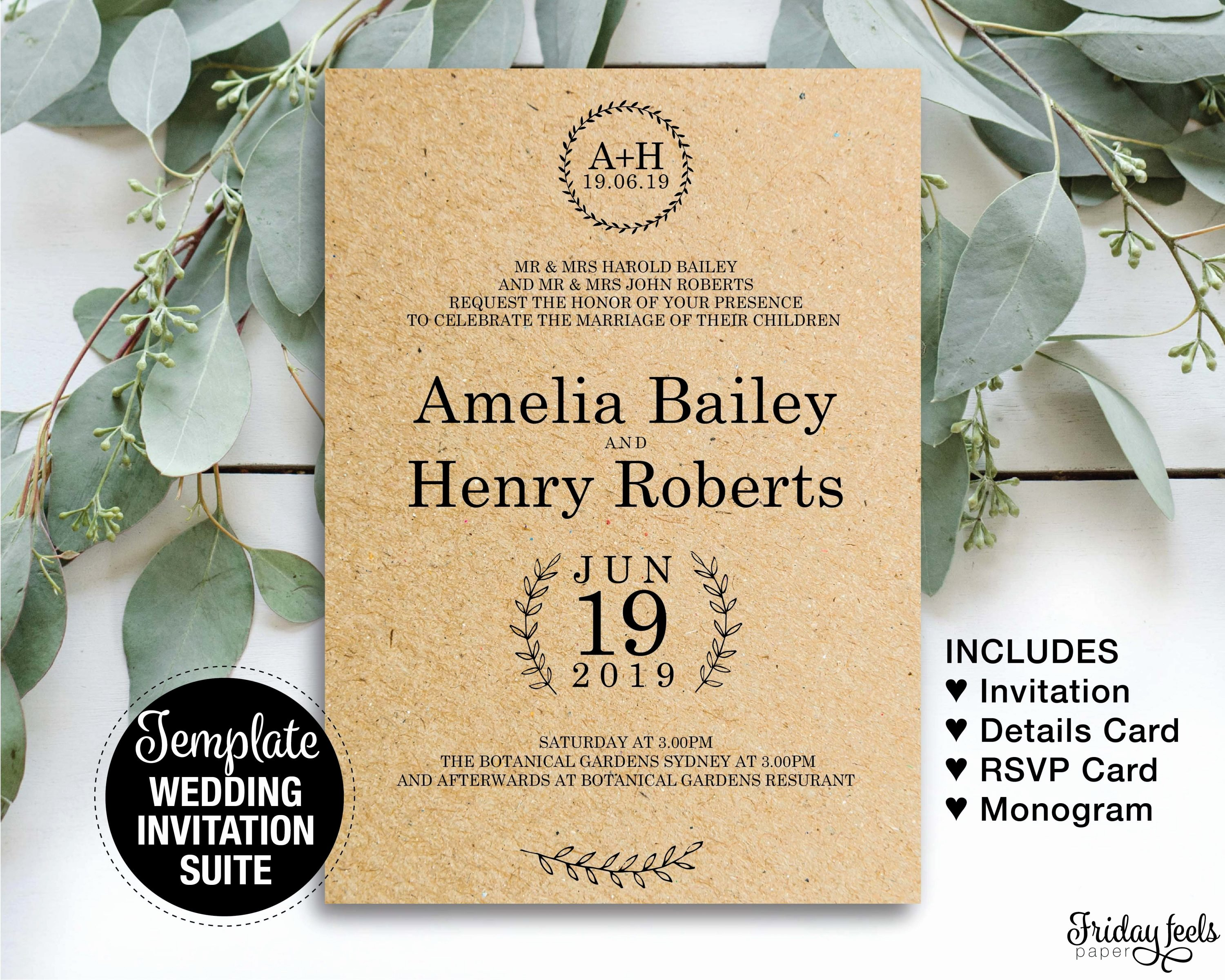 Rustic Wedding Invitation Templates Elegant Rustic Wedding Invitation Set Printable Templates Friday Feels Paper