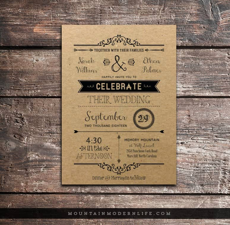 Rustic Wedding Invitation Templates Elegant Vintage Rustic Diy Wedding Invitation Template