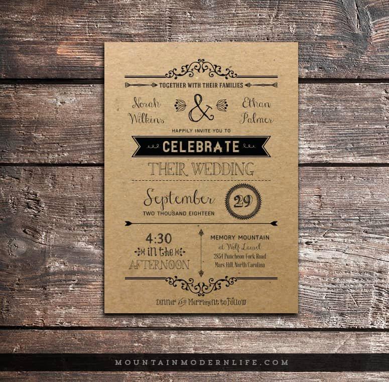 Rustic Wedding Invitation Templates Elegant Vintage Rustic Diy Wedding Invitation Template