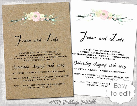 Rustic Wedding Invitation Templates Fresh Printable Rustic Wedding Invitation Template Rustic