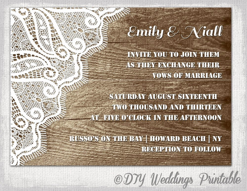 Rustic Wedding Invitation Templates Inspirational Rustic Wedding Invitation Template Wood & Lace