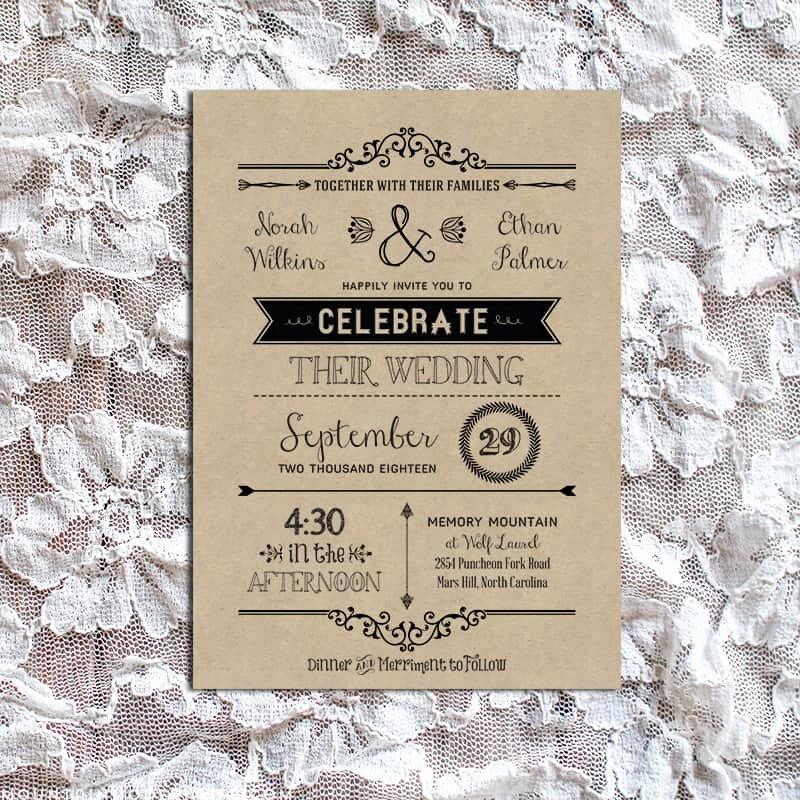 Rustic Wedding Invitation Templates Inspirational Vintage Rustic Diy Wedding Invitation Template