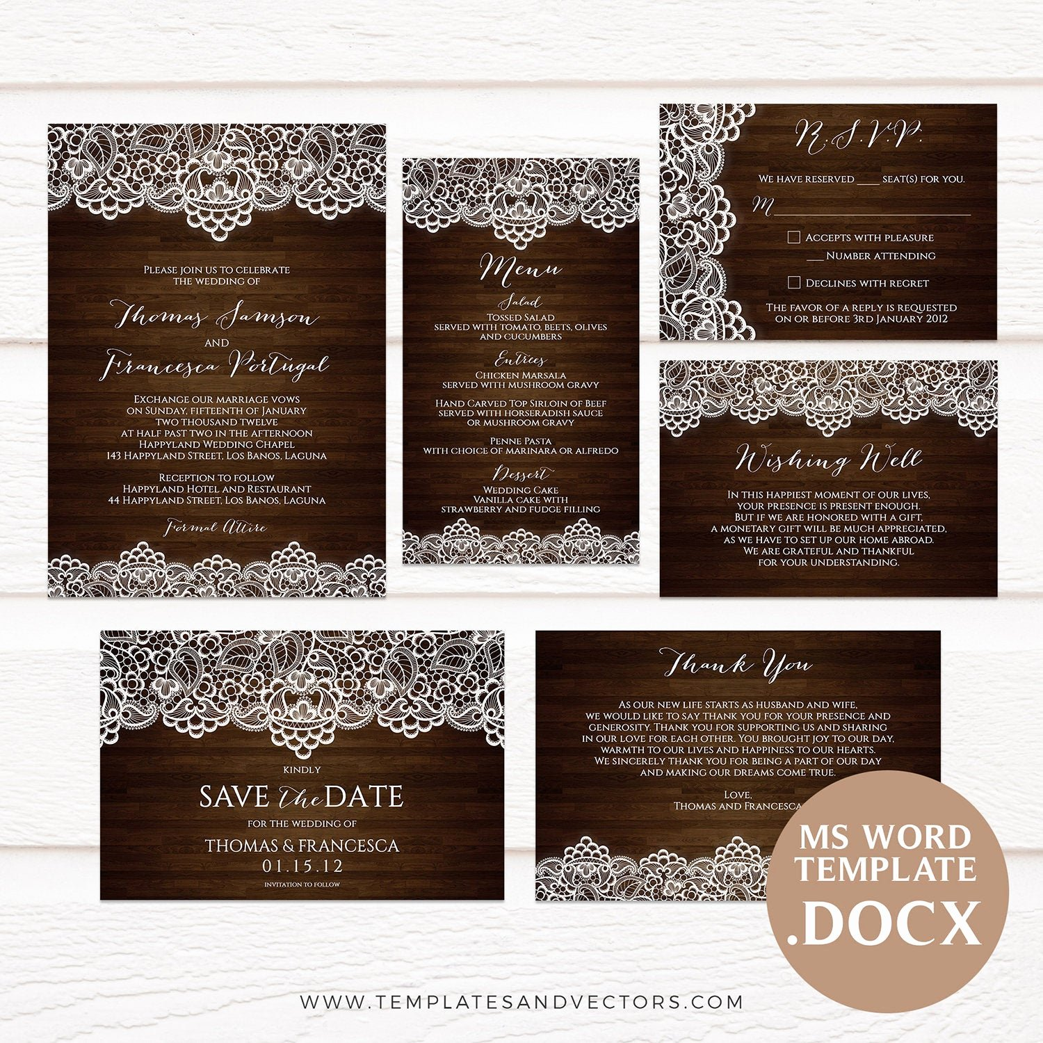 Rustic Wedding Invitation Templates Lovely Dark Wood and Lace Rustic Wedding Invitation Template