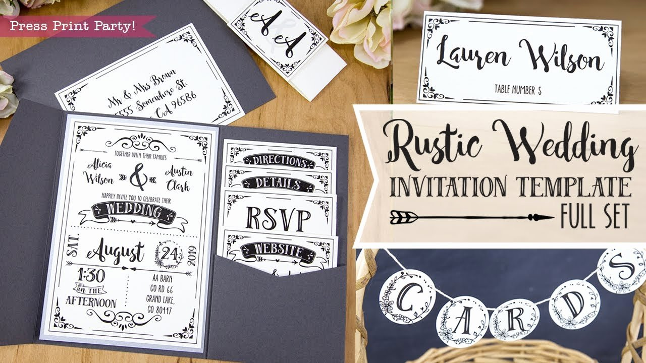 Rustic Wedding Invitation Templates New Diy Rustic Wedding Invitation Template Printable Details Menu Rsvp Cards Place Cards and