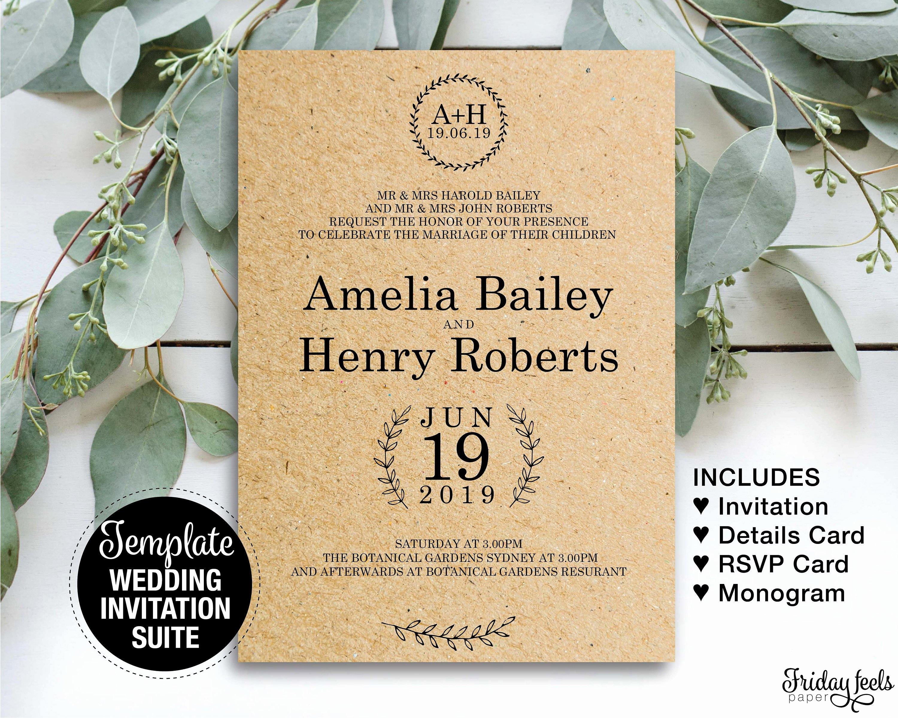 Rustic Wedding Invitation Templates New Rustic Wedding Invitation Suite Printable Template Country