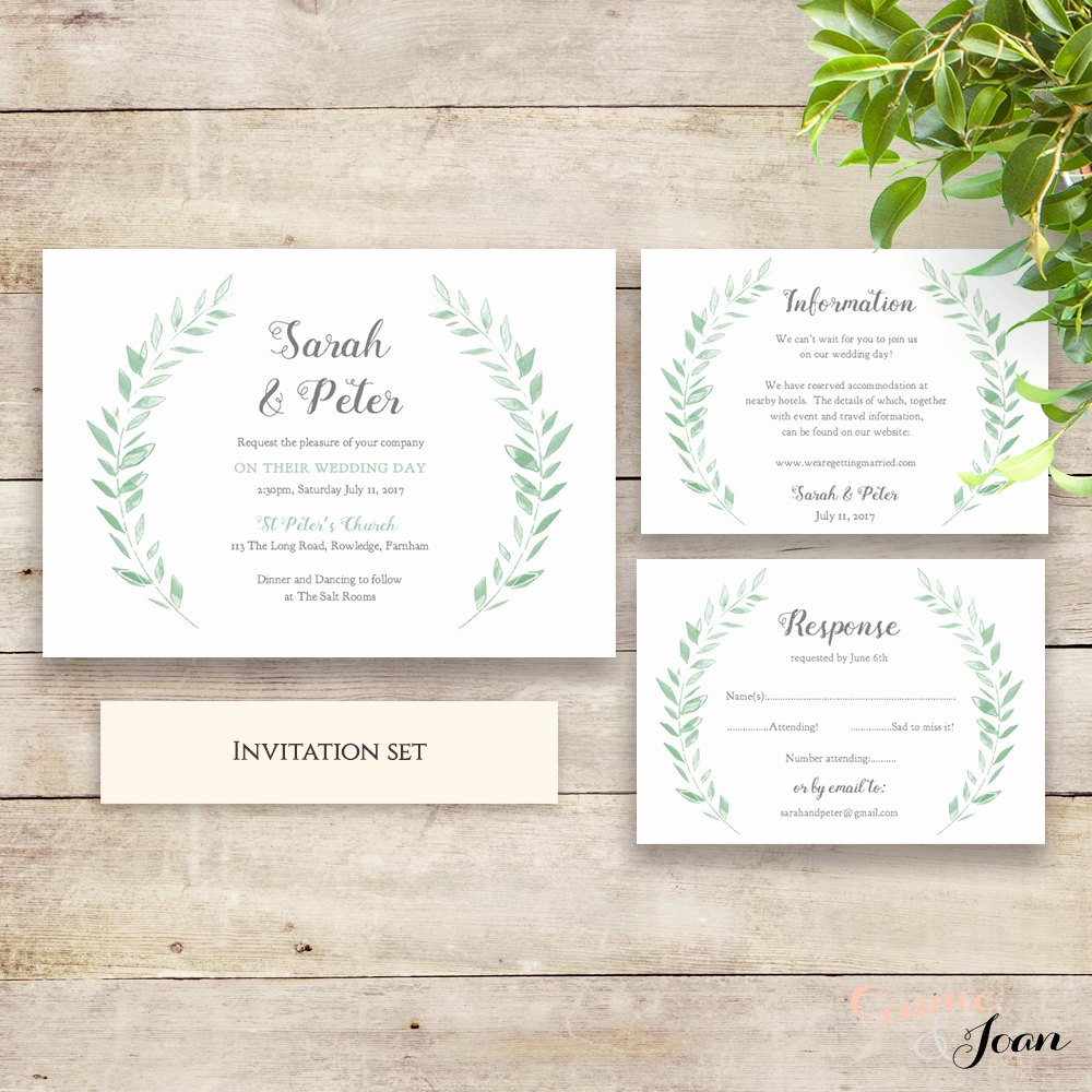 Rustic Wedding Invitation Templates New Wedding Invitation Template Rustic Printable Invitation Set