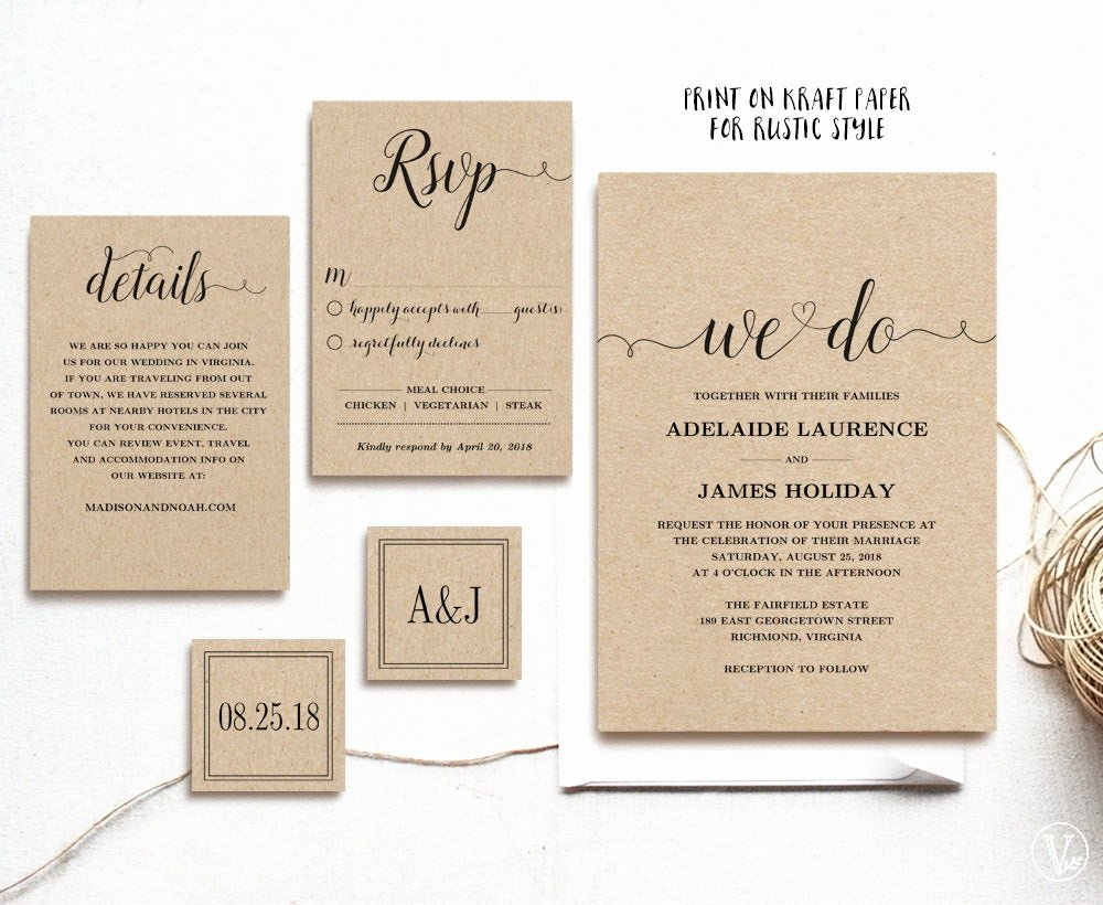 Rustic Wedding Invitation Templates Unique Rustic Wedding Invitation Template 5 Piece by Vinewedding On Etsy