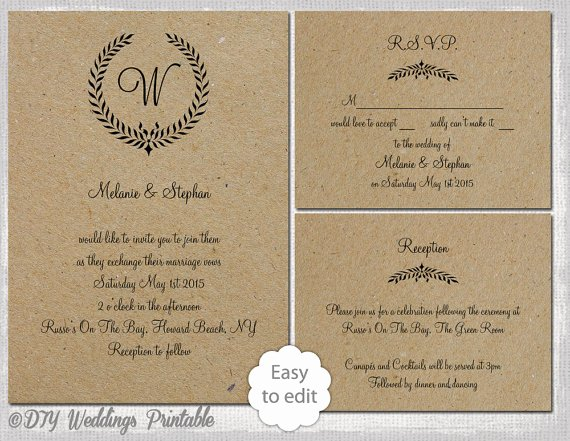 Rustic Wedding Invitations Template Awesome Rustic Wedding Invitation Set Leaf Garland