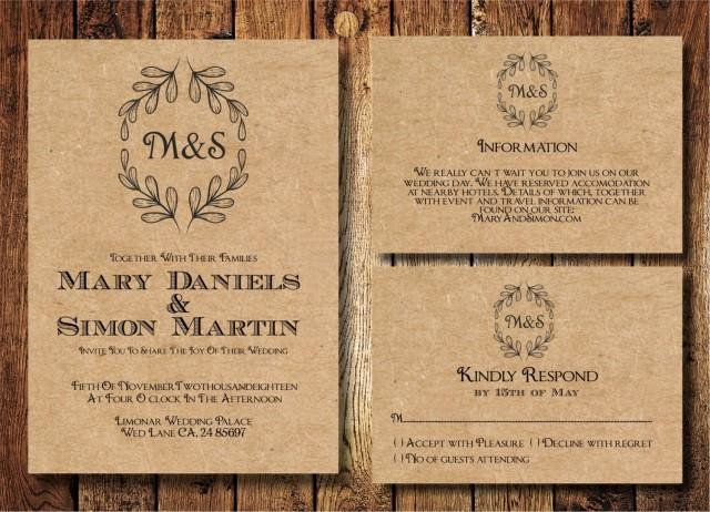 Rustic Wedding Invitations Template Awesome Rustic Wedding Invitation Template Set Kraft Paper Wreath