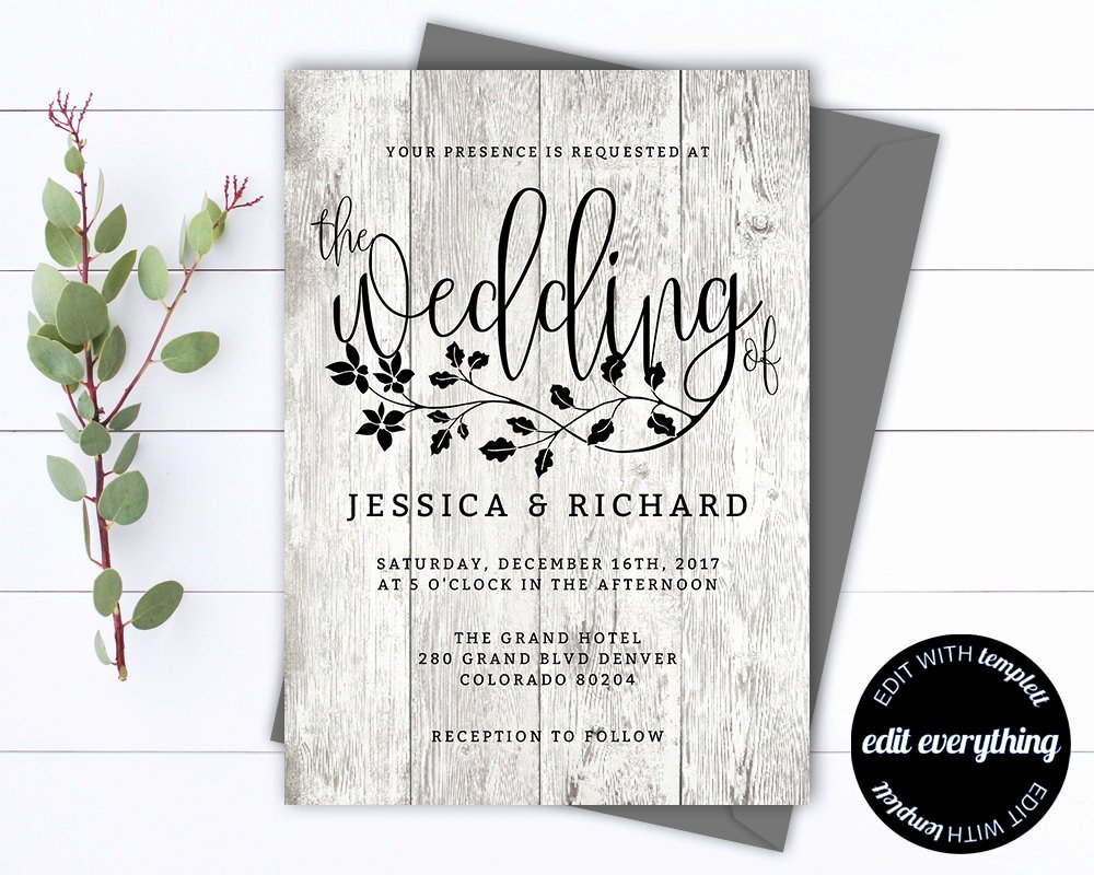 Rustic Wedding Invitations Template Best Of Rustic Wedding Invitation Template Country Wedding Template