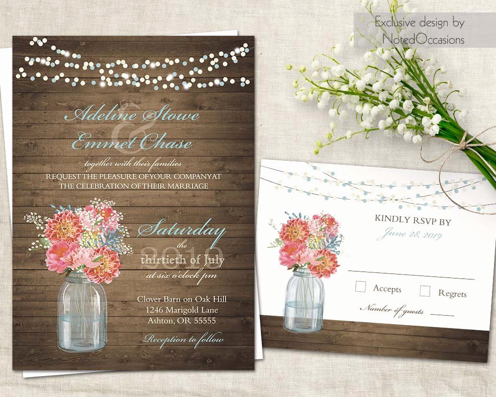 Rustic Wedding Invitations Template Elegant Mason Jar Wedding Invitations Rustic Wedding Kit Rsvp Cards