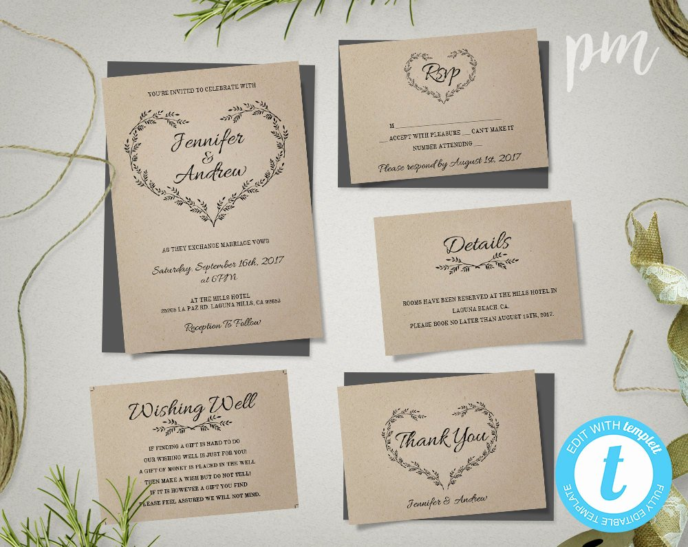 Rustic Wedding Invitations Template Fresh Kraft Wedding Invitation Template Rustic Wedding Printable