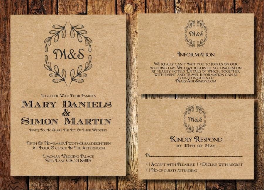 Rustic Wedding Invitations Template Fresh Rustic Wedding Invitation Template Set Kraft Paper Wreath