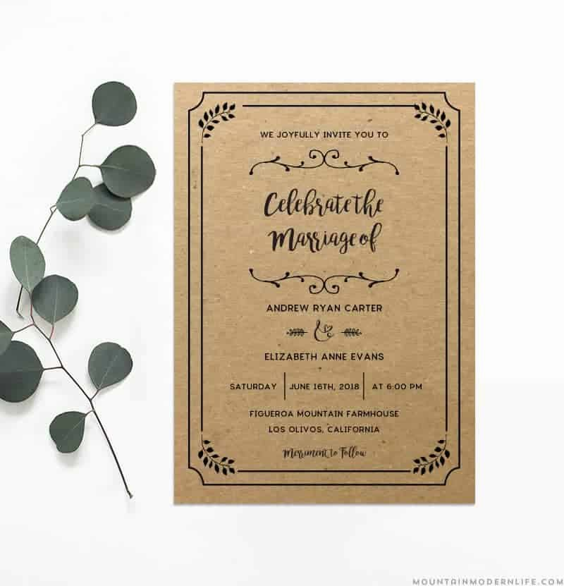 Rustic Wedding Invitations Template Inspirational Printable Diy Wedding Invitation Template