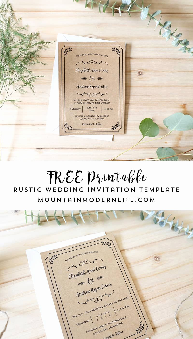 Rustic Wedding Invitations Template Lovely Free Printable Wedding Invitation Template