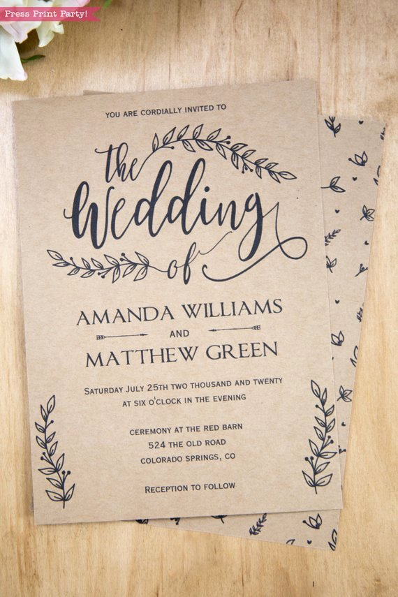 Rustic Wedding Invitations Template Lovely Rustic Wedding Invitation Printable Leaf Design & Decor