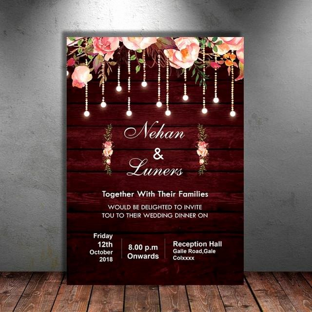 Rustic Wedding Invitations Template Luxury Maroon Floral Rustic Wedding Invitation Template for Free