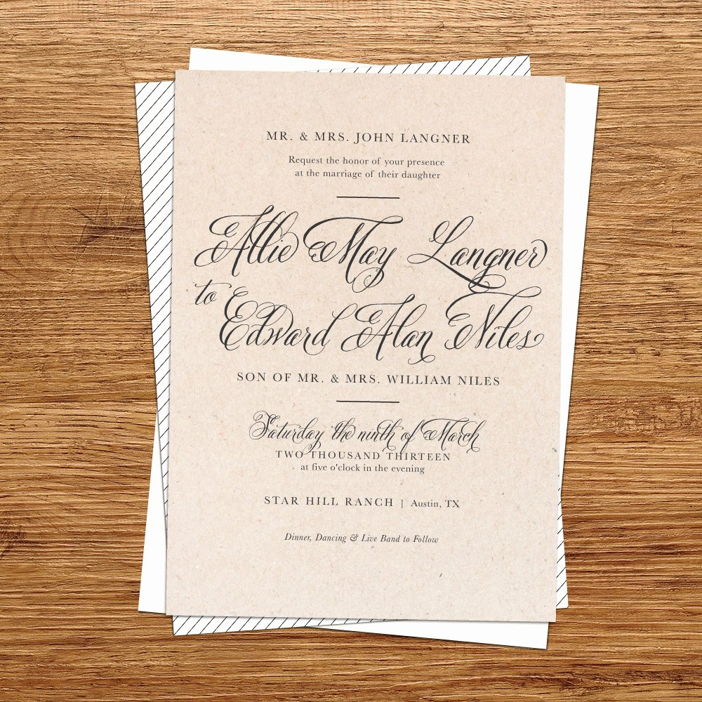 rustic wedding invitation kraft paper