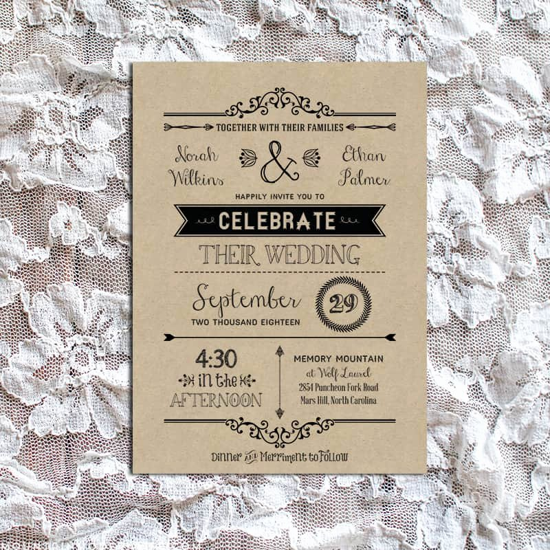 Rustic Wedding Invitations Templates Inspirational Vintage Rustic Diy Wedding Invitation Template