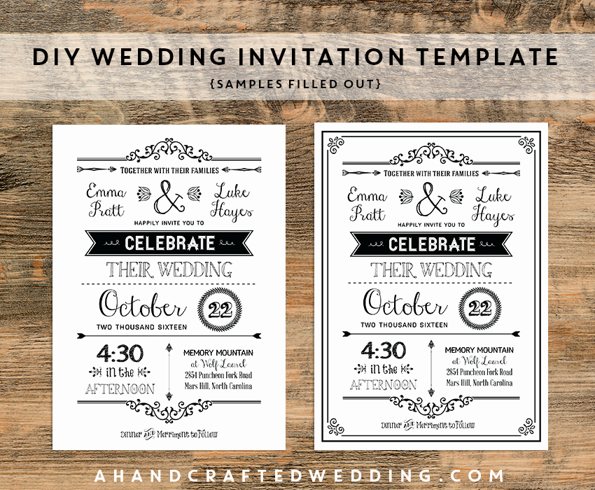 Rustic Wedding Invitations Templates Lovely Diy Black Rustic Wedding Invitation Templates Samples Filled Out Ahandcraftedwedding