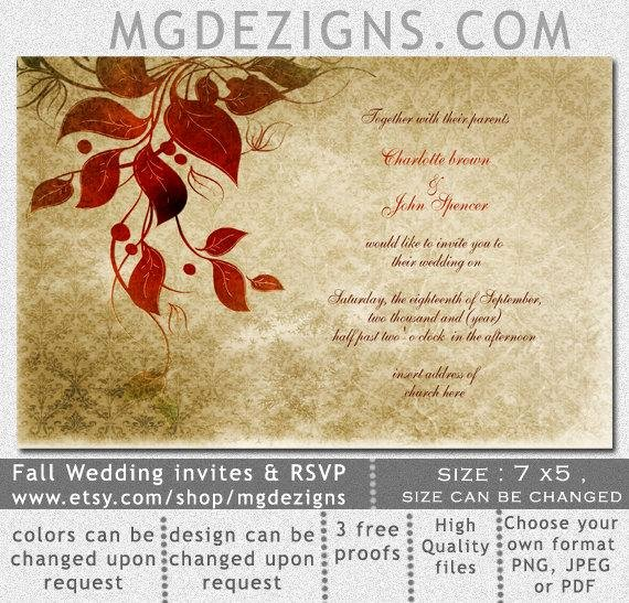 Rustic Wedding Invitations Templates Lovely Items Similar to Printable Wedding Invitation Template Fall Wedding Invitations Rustic Wedding