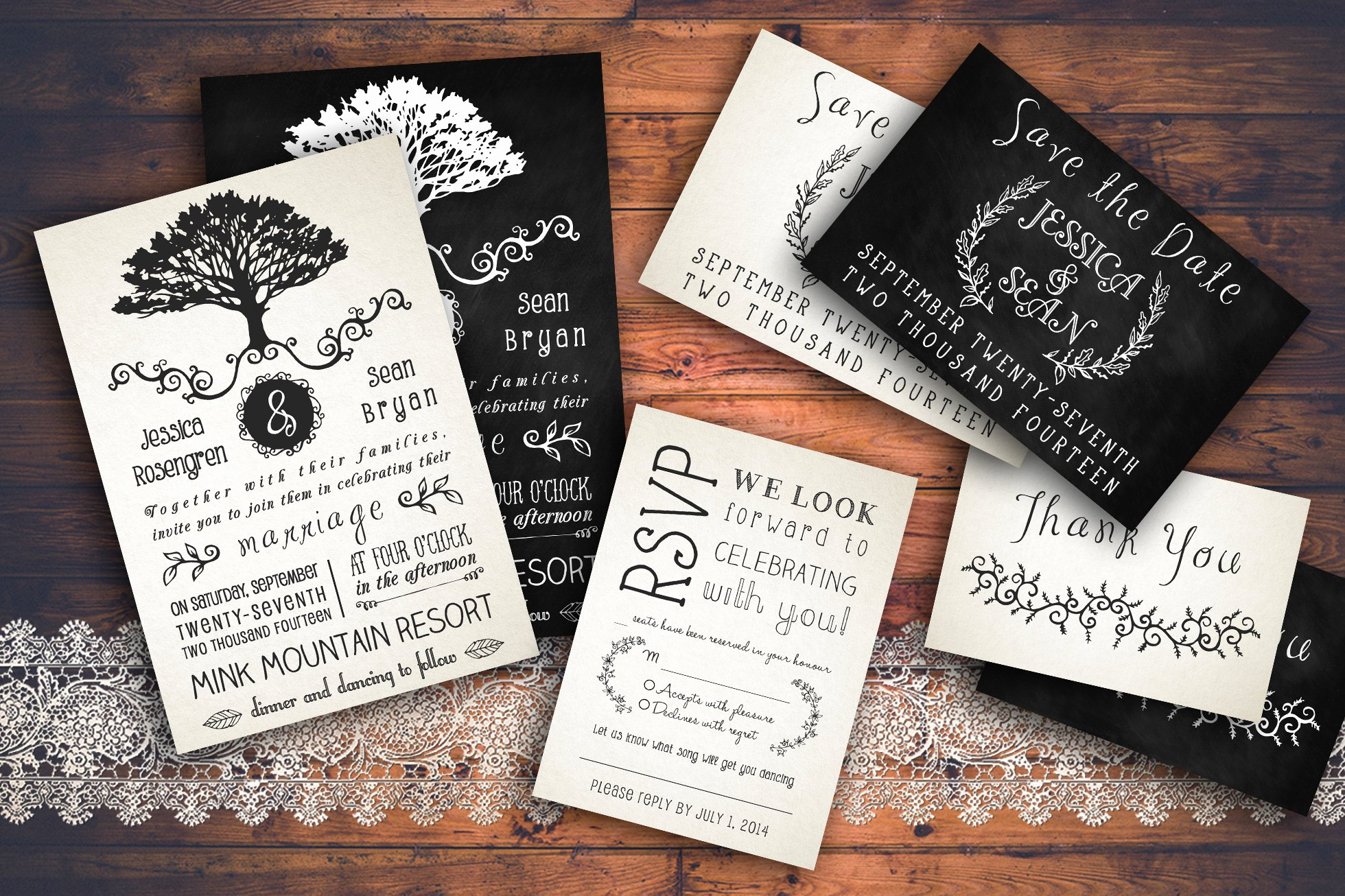 Rustic Wedding Invitations Templates Lovely Rustic Wedding Invitation Pack Invitation Templates On Creative Market