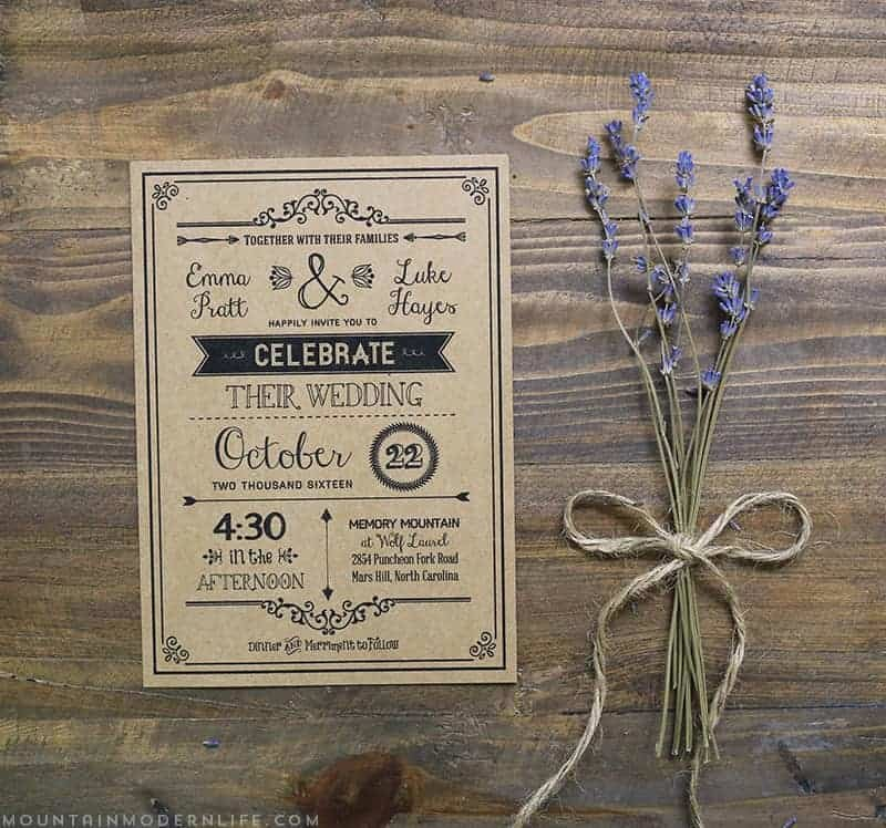 Rustic Wedding Invitations Templates Lovely Vintage Rustic Diy Wedding Invitation Template
