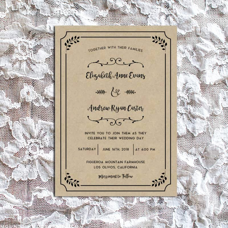 Rustic Wedding Invitations Templates New Whimsical Rustic Diy Wedding Invitation Set