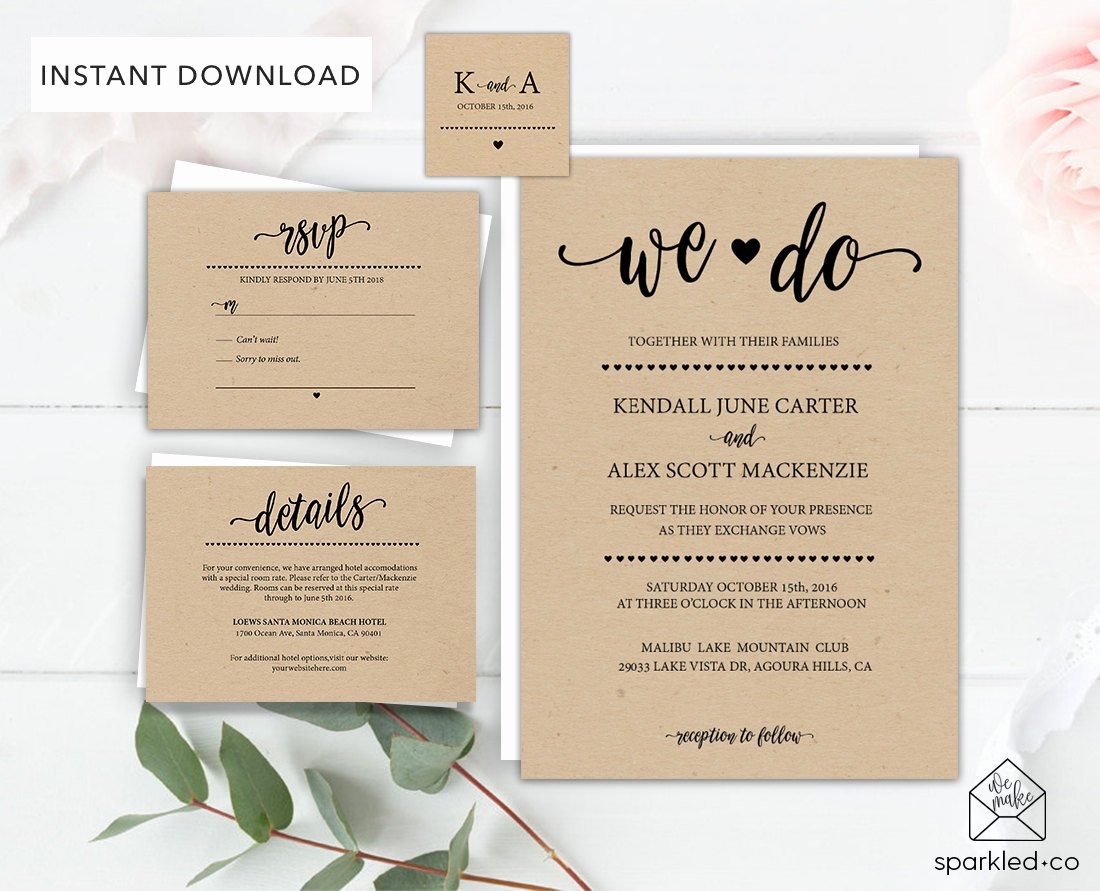 Rustic Wedding Invitations Templates Unique Rustic Wedding Invitation Template Wedding by Sparkledco On Etsy