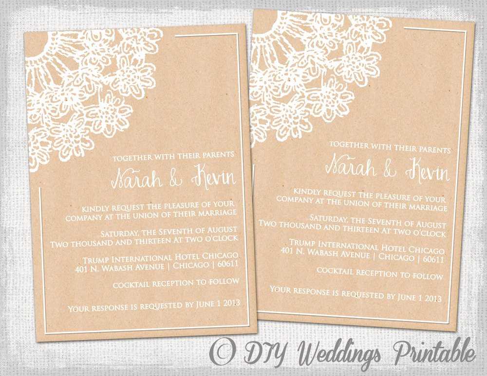 Rustic Wedding Invites Templates Beautiful Diy Rustic Wedding Invitations Template by Diyweddingsprintable
