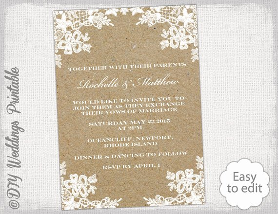 Rustic Wedding Invites Templates Elegant Rustic Wedding Invitation Template Diy Rustic Lace