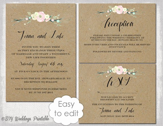 Rustic Wedding Invites Templates Elegant Rustic Wedding Invitation Templates Suite Diy Rustic